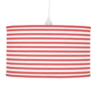 Preppy Nautical Red & White Stripes Pendant Lamp