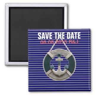 Preppy Nautical Stripes lifesaver beach Anchor Square Magnet