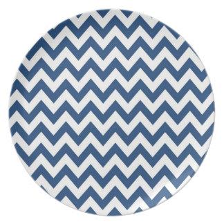 Preppy Navy Blue and White Chevron Plate