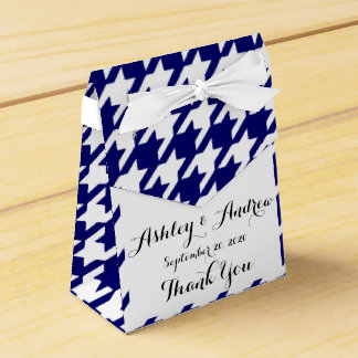 Preppy Navy Blue and White Houndstooth Pattern Favor Box