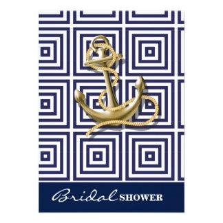 "preppy navy blue pattern nautical anchor 4.5"" x 6.25"" invitation card"