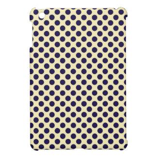 Preppy navy & tan polka dot dots nautical pattern iPad mini case