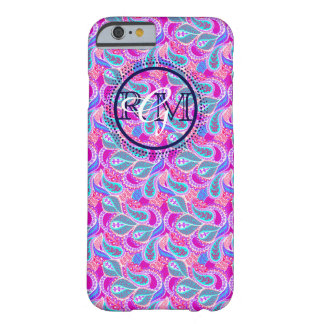 Preppy Paisley Custom 3 letter Monogram Barely There iPhone 6 Case