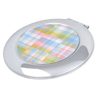 Preppy Patchwork Look Madras Pastel Compact Mirrors