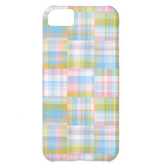 Preppy Patchwork Look Madras Pastel Cover For iPhone 5C
