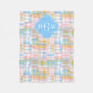 Preppy Patchwork Madras Pastel Quatrefoil Initials Fleece Blanket