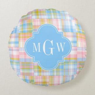 Preppy Patchwork Madras Pastel Quatrefoil Initials Round Pillow