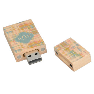 Preppy Patchwork Madras Pastel Quatrefoil Initials Wood USB 2.0 Flash Drive