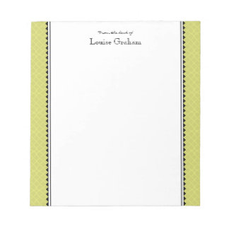 Preppy Personalized Stationary - lime & black Notepad