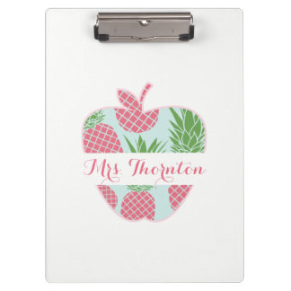 Preppy Pineapple Print Apple Personalized Teacher Clipboard