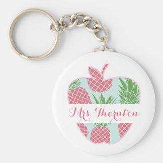 Preppy Pineapple Print Apple Personalized Teacher Keychain