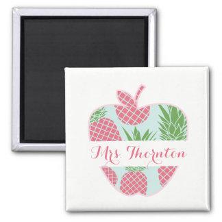 Preppy Pineapple Print Apple Personalized Teacher Square Magnet