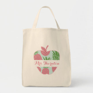 Preppy Pineapple Print Apple Personalized Teacher Tote Bag