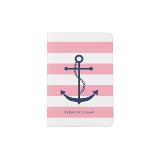 Preppy Pink and Blue Anchor Passport Holder