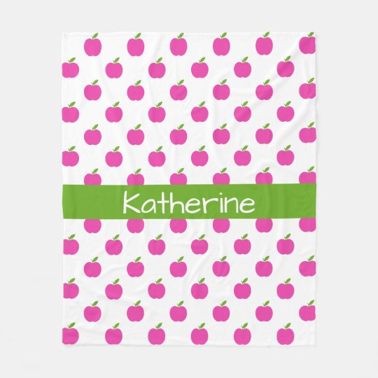 Preppy Pink and Green Apples Personalized Fleece Blanket