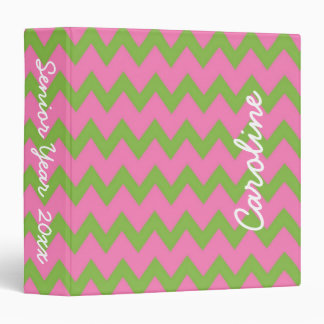 Preppy Pink and Green Personalized Chevron Binders