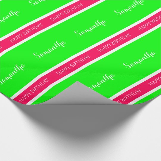 Preppy Pink and Green Personalized Stripe