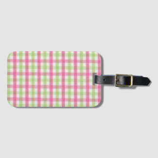 Preppy Pink and Green Plaid Bag Tag