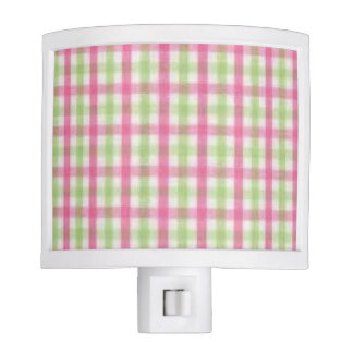 Preppy Pink and Green Plaid Nite Lights