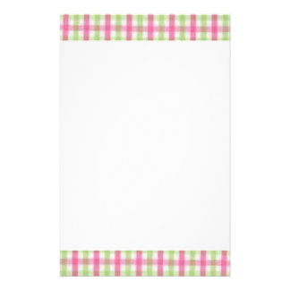 Preppy Pink and Green Plaid Stationery Design