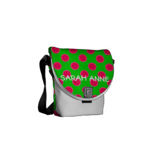 Preppy Pink and Green Polka Dot Personalized Commuter Bag