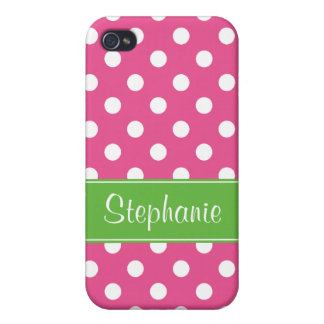 Preppy Pink and Green Polka Dots Personalized iPhone 4 Cover
