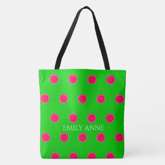 Preppy Pink and Green Polka Dots Personalized Tote Bag
