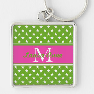 Preppy Pink and Green Stars Monogram Keychain