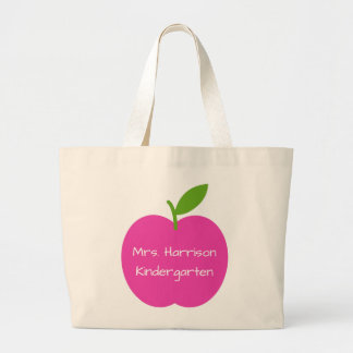 Preppy Pink and Green Teacher's Apple Personalized Large Tote Bag