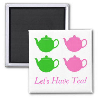 Preppy Pink and Green Teapots Square Magnet
