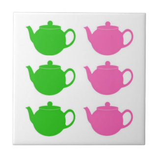 Preppy Pink and Green Teapots Tile