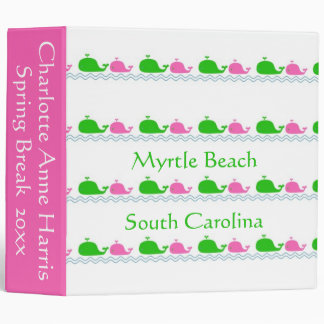 Preppy Pink and Green Whales Personalized 3 Ring Binders