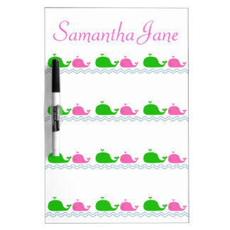 Preppy Pink and Green Whales Personalized Dry Erase Board