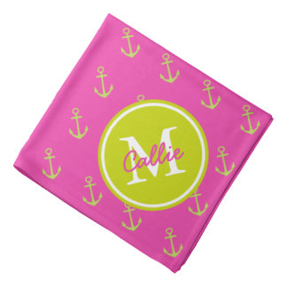 Preppy Pink and Lime Green Anchor Monogram Bandana
