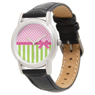 Preppy Pink and  Lime Green Striped Wrist Watches