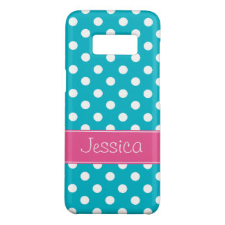 Preppy Pink and Teal Blue Polka Dots Personalized Case-Mate Samsung Galaxy S8 Case