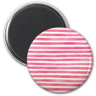 Preppy Pink Brushstroke Stripes Watercolor 2 Inch Round Magnet