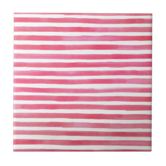 Preppy Pink Brushstroke Stripes Watercolor Ceramic Tiles