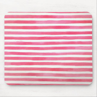 Preppy Pink Brushstroke Stripes Watercolor Mouse Pad