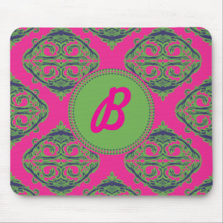 Preppy Pink Damask Mouse Pad