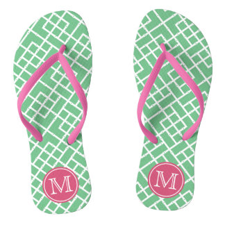 Preppy Pink & Green Bamboo Lattice Monogram Flip Flops