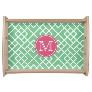 Preppy Pink & Green Bamboo Lattice Monogram Serving Tray