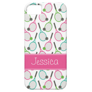 Preppy Pink Green Teal Tennis Pattern Personalized Case For The iPhone 5