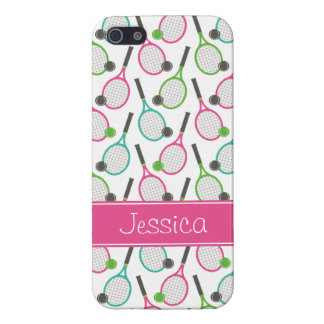 Preppy Pink Green Teal Tennis Pattern Personalized iPhone 5/5S Covers