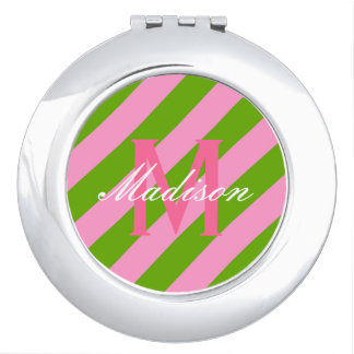Preppy Pink & Lime Green Striped Mirrors For Makeup