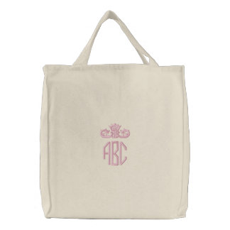 Preppy Pink Monogram with Crown Embroidered Bag