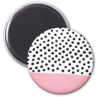 Preppy pink Polka Dot 2 Inch Round Magnet