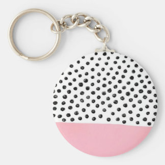 Preppy pink Polka Dot Basic Round Button Keychain