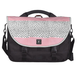 Preppy pink Polka Dot Laptop Commuter Bag
