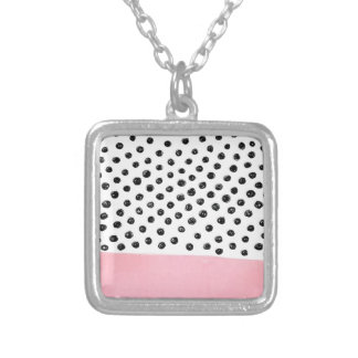 Preppy pink Polka Dot Silver Plated Necklace